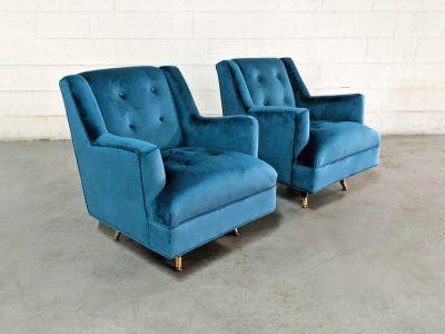 New Restored Mid Century Mod Velvet Swivel Chairs