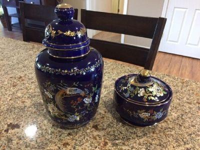 Vintage Kobalt Stile Sevres urn and dish home decor
