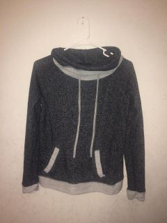 Gray & Black Hooded Pullover with Pocket