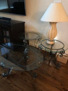$20 - Glass coffee table, end tables and lamp