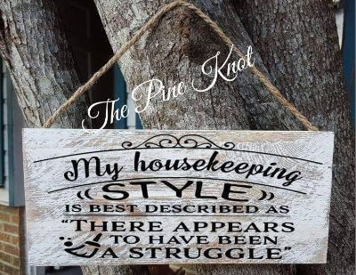 hand painted wood sign MY HOUSEKEEPING STYLE