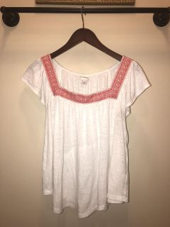 White with red embroidery shirt