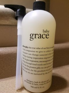 BRAND NEW PHILOSOPHY SUPER SIZE BABY GRACE SHAMPOO, BATH, AND SHOWER GEL, 32 FL. OZ., COMES WITH PUMP