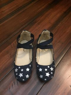 Cat and Jack - suede navy blue/silver stars size 10