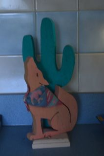 """12"""" Painted Wood Cactus & Coyote"""