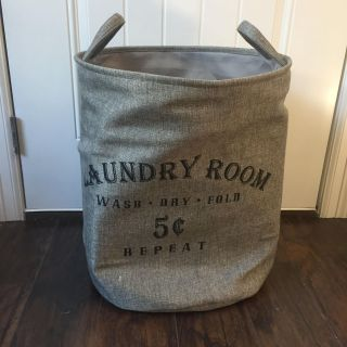 Gray Collapsible Laundry Bin- New