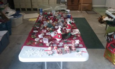 Yard Sale Chritmas Decorations and women's clorhes