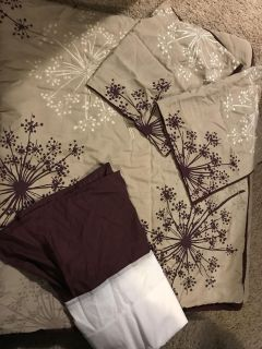 King size comforter, 2 pillow shams, and bed skirt