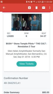 4 seats to see Stone Temple Pilots, Bush, 60 all