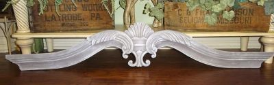 """HUGE Ornate 51"""" Shabby Chic Frosted Gray Wall Decor Hanging Plaque"""