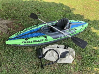 Intex Challenger K1 Inflatable Kayak, includes storage bag, tracking fin, air pump, aluminum paddle, removable seat, EUC, $45. Discount PPU.