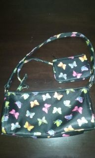 Small Black butterfly purse with change purse