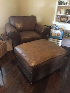 4 pc Brown leather couch, ottoman, loveseat and oversized chair