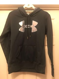 Under Armour Hoodie with Silver logo and black and white detail in hood