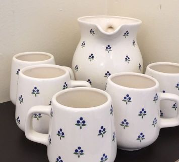 Decorative Pitcher & 5 Cup Set