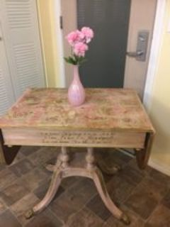 Shabby Chic Victorian accent drop leaf table