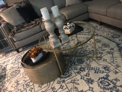 Gold(ish) Metal Drum Coffee Table