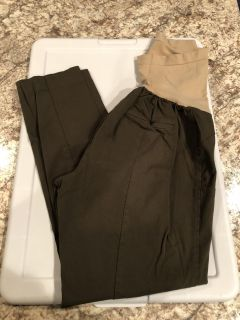 Army green ankle maternity pants, xl