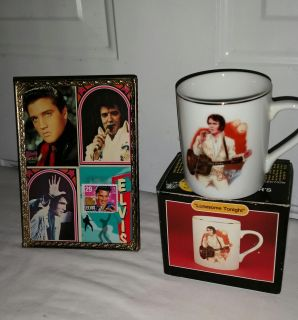 Vintage Elvis Lonesome Tonight Mug in box and vintage stamp and 3 cards framed. All for $12
