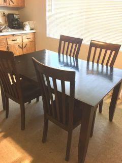 Wood dinette set/table with leaf & 4 chairs