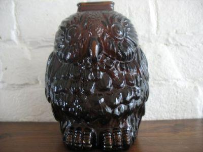 Owl Golden Amber Glass Bank
