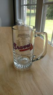 Atlanta Braves 1992 Western Division Championships beer mug with player roster on the back