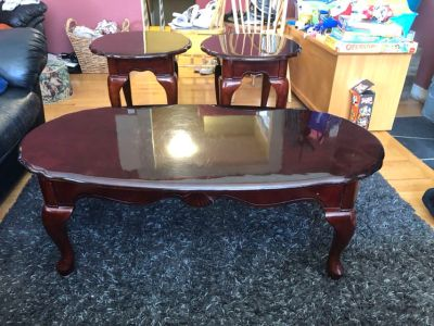EUC coffee table and 2 end tables