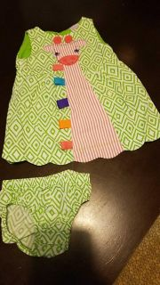12 month Giraffe dress with matching bloomers