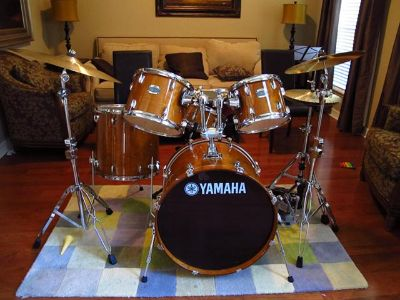 Yamaha Stage Custom Birch 5-Piece Shell Pack with 22 Bass Drum Honey Amber with Cymbal and Stand $1