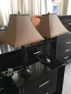 2 Light Brown Tapered Square Shades and Brown Metal Base
