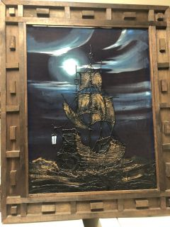 Large 1970s nighttime ship painting