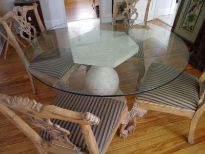 Marble & Glass Round Dining Table w/4 Chippendale Chairs!