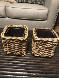 Pair Of Metal/Wicker Pen/Pencil Holder. Could Be Used To Hold A Variety Of Items.