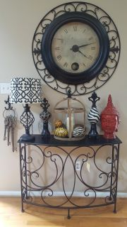 wrought iron an wood entry table new tags