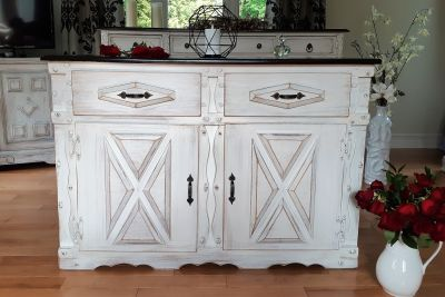 WOOD BUFFET, SHABBY CHIC STYLE, 32H X16,5DX47L""