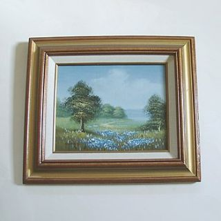 FRAMED MEADOW LANDSCAPE PAINTING ON CANVAS 13x15