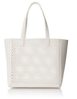 Loeffler Randall Open White Leather Tote