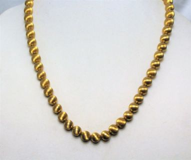 """Brushed Gold Tone 22"""" Chain Pendant Statement Necklace Strand Ball Bead"""