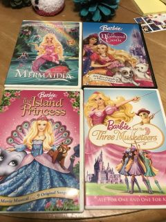 4 Barbie DVDs $5 for all 4