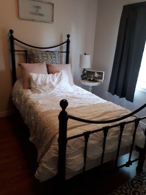 Stunning black wrought iron twin bed frame