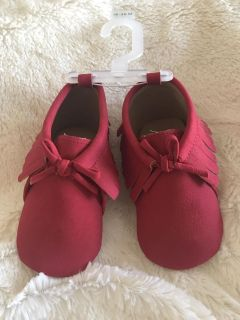 Brand new red baby moccasins size 18-24 months