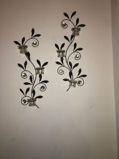 Rod iron black wall decorations with candle holders