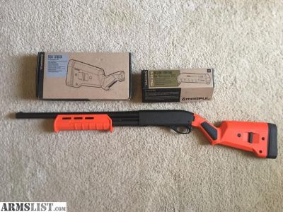 For Sale: Remington 870 Express Magnum Tactical 12g with a new MAGPUL Orange SGA M-LOK Stock & MOE MLOK Forend (Factory Furniture Included)