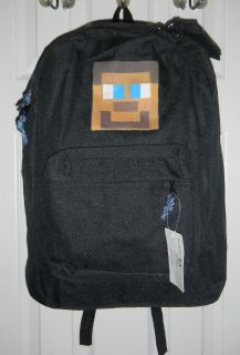 Hand Painted Minecraft NEW Black Backpack w/ Steve Head