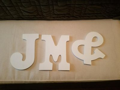 WHITE WOOD DECOR LETTERS J-M-& ALL FOR $5!