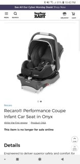 Recaro Performance Coupe Infant Car Seat with 1 Base