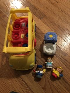 fisher price little people bus, truck, 3 people
