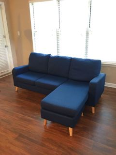 Navy Blue Couch with Chaise