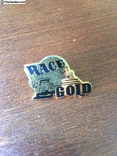 1980s California Race for the Gold pin plaque drag