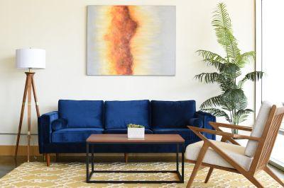 Modern Fordham Velvet Sofa (Navy Blue)